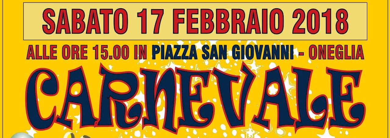 Festeggia con noi il Carnevale 2018, in piazza San Giovanni ad Oneglia il 17 Febbraio 2018
